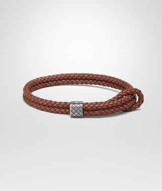 BRACELET IN RUSSET INTRECCIATO NAPPA AND SILVER