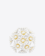 FLEUR BROOCH IN WHITE AND YELLOW ENAMEL COVERED BRASS