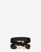 YSL Double Wrap Bracelet in Black Leather and Gold-Toned Brass
