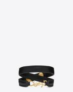 YSL doppeltes Wickelarmband aus schwarzem Leder und goldfarbenem Messing