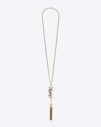 SNAKE MONOGRAM TASSEL PENDANT NECKLACE IN OLD GOLD-TONED BRASS