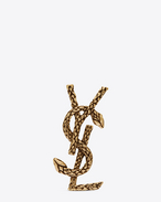 SNAKE MONOGRAM BROOCH IN OLD GOLD-TONED BRASS