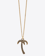 HAWAII Palm Tree Pendant Necklace in Old Gold-Toned Brass