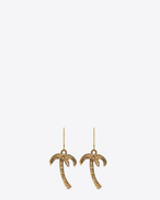 HAWAII Palm Tree Earrings in Old Gold-Toned Brass