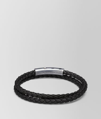 BRACELET IN NERO INTRECCIATO NAPPA AND STERLING SILVER