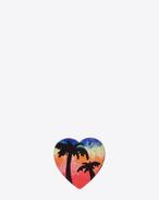 Broche cœur Hawaï EIGHTIES en émail multicolore et en laiton argenté oxydé