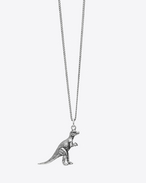 DINOSAURS Dinosaur Pendant Necklace in Oxidized Silver-Toned Brass