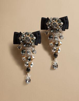 水晶缎面蝴蝶结耳环