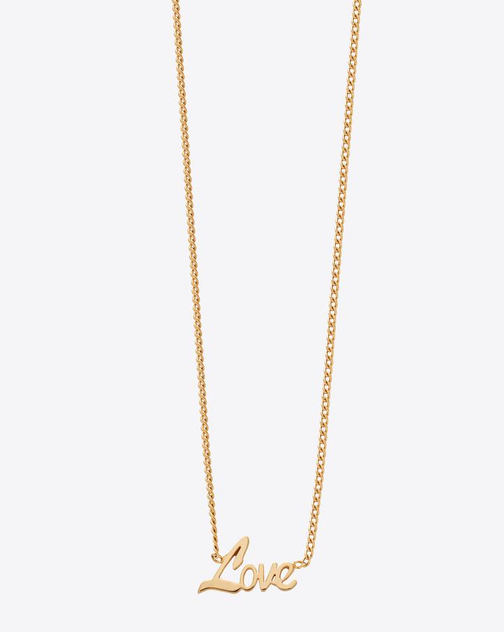saint laurent name tag  u0026quot love u0026quot  pendant necklace in gold vermeil