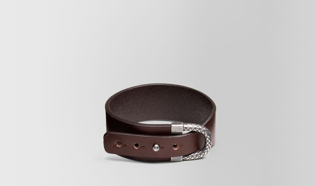 BRACELET IN PEPE CALF AND SILVER WITH INTRECCIATO DETAILS