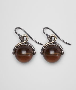 EARRINGS IN INTRECCIATO SILVER AND SMOKY QUARTZ STONES WITH YELLOW GOLD ACCENTS