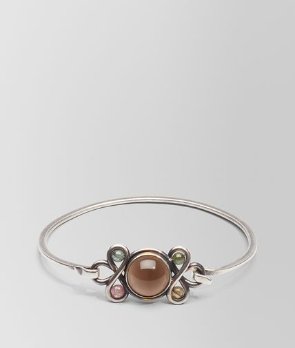 BRACELET IN SILVER, SMOKY QUARTZ AND TOURMALINE STONES WITH YELLOW GOLD ACCENTS