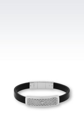 Armani Bracelet Men bracelet in leather and steel