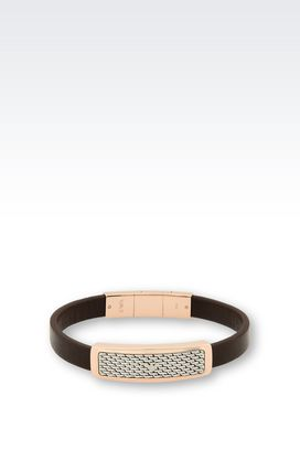 Armani Bracelet Men bracelet in leather and rose gold-plated steel