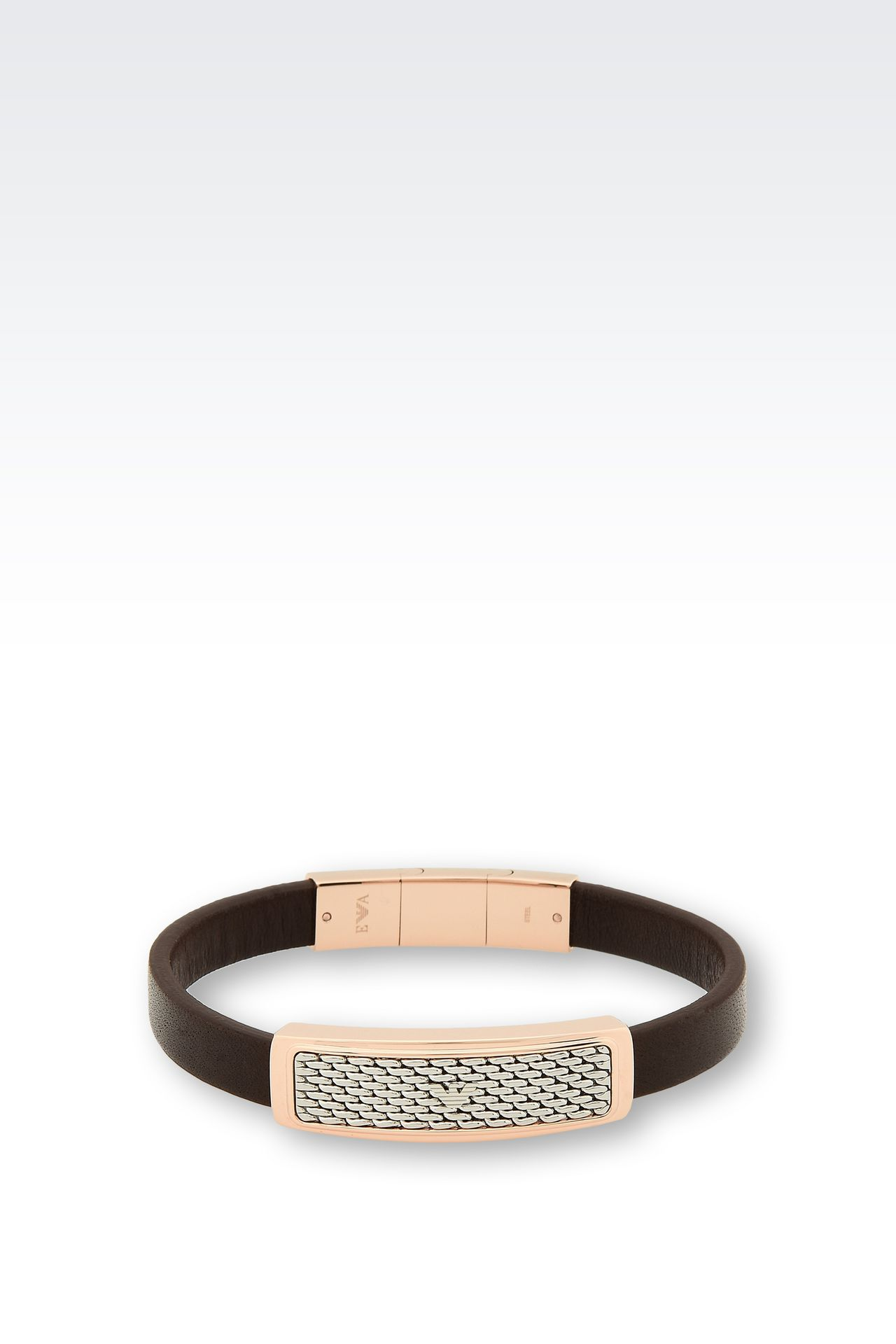 Bracelet In Leather And Rose Goldplated Steel: Bracelet Men By Armani  0