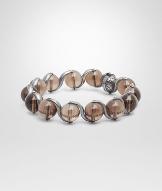 BRACELET IN INTRECCIATO SILVER AND SMOKY QUARTZ STONES