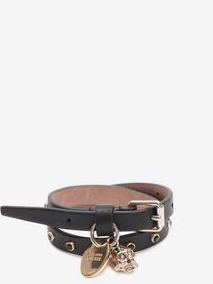 Nappa Skull Charm Double Wrap Bracelet