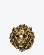 LION Brooch in Old Gold-Toned Brass