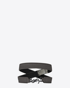 YSL Double Wrap Bracelet in Dark Anthracite Leather and Black Enamel