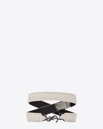ysl double wrap bracelet in dove white leather and black enamel