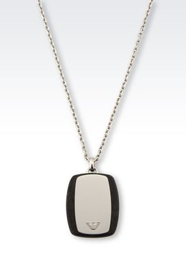 Armani Necklace Men steel necklace with medallion