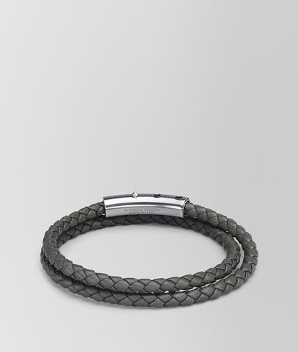 BRACCIALE IN INTRECCIATO NAPPA NEW LIGHT GREY E ARGENTO