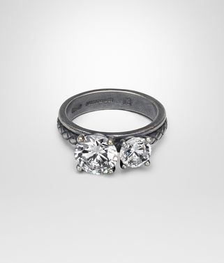 RING SILVER AND NATURALE CUBIC ZIRCONIA, INTRECCIATO DETAIL