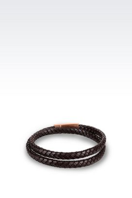 Armani Bracelet Men bracelet in rose gold-plated leather