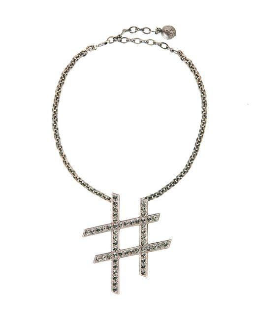 "lanvin ""iconic"" silver hashtag necklace women"
