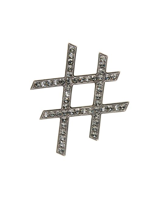 "lanvin ""iconic"" silver hashtag brooch women"