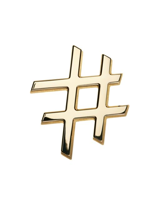 "lanvin ""iconic"" gold hashtag brooch women"