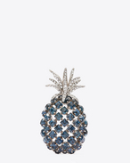 ANIMALIER Pineapple Brooch in Oxidized Silver-Toned Brass and Clear and Blue Crystal
