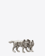 ANIMALIER Wolf Brooch in Oxidized Silver-Toned Brass