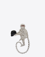 ANIMALIER Monkey Brooch in Silver-Toned Brass and Clear, Red and Black Crystal
