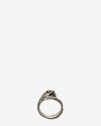 ANIMALIER Biting Serpent Ring in Oxidized Silver-Toned Brass and Black Crystal