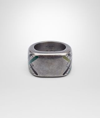 RING IN SILVER WITH MULTICOLOR ENAMEL TARTAN MOTIF AND INTRECCIATO DETAILS