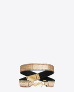 YSL Double Wrap Bracelet in Pale Gold Lizard Embossed Leather and Gold-Toned Metal