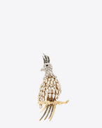animalier cockatiel brooch in silver- and gold-toned brass and clear, grey and blue crystal