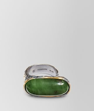 RING IN JADE SILVER, YELLOW GOLD ACCENTS