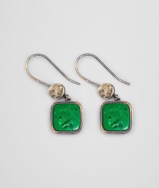 EARRINGS IN MALACHITE PASTE SILVER, YELLOW GOLD ACCENTS