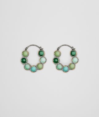 EARRINGS IN MULTI GREEN ENAMEL SILVER, YELLOW GOLD ACCENTS