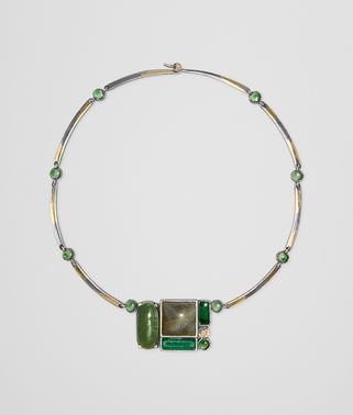 NECKLACE IN MULTI GREEN GEMSTONES AND ENAMEL SILVER, YELLOW GOLD ACCENTS
