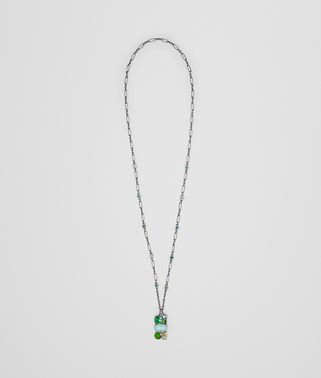 PENDANT IN MULTI GREEN GEMSTONES AND ENAMEL SILVER, YELLOW GOLD ACCENTS