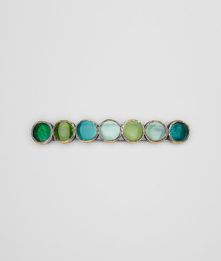 HAIR CLIP IN MULTI GREEN ENAMEL SILVER, YELLOW GOLD ACCENTS