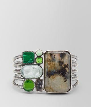 BRACELET IN MULTI GREEN GEMSTONES AND ENAMEL SILVER, YELLOW GOLD ACCENTS