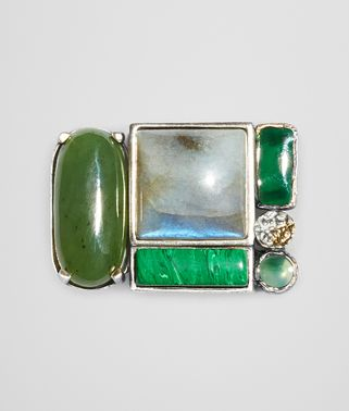 BROOCH IN MULTI GREEN GEMSTONES AND ENAMEL SILVER, YELLOW GOLD ACCENTS