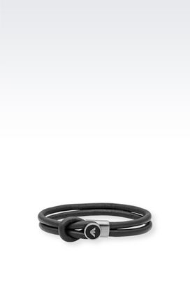 Armani Bracelet Men leather and steel bracelet
