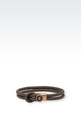 Armani Bracelets Men leather and steel bracelet