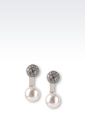 Armani Boucles d'oreilles Femme boucles d'oreilles en acier avec perle et cristaux swarovski