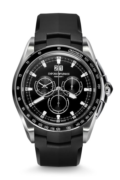 CHRONOGRAPH SWISS MADE WATCH WITH LEATHER STRAP: SWISS MADE WATCHES Men by Armani - 1